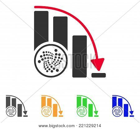 Iota Epic Fail Chart icon. Vector illustration style is a flat iconic iota epic fail chart symbol with grey, yellow, green, blue color variants. Designed for web and software interfaces.