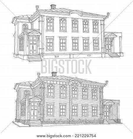 Drawing the house where Vladimir Ulyanov lived Lenin, in the city of Ulyanovsk Illustration.