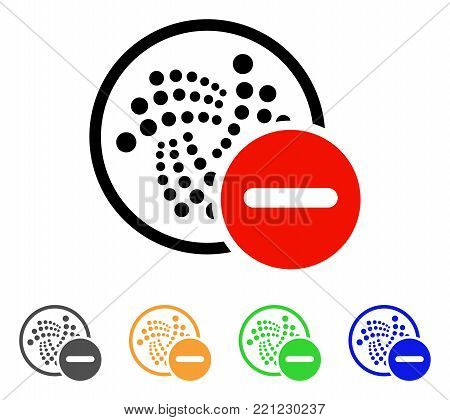 Restricted Iota icon. Vector illustration style is a flat iconic restricted iota symbol with grey, yellow, green, blue color versions. Designed for web and software interfaces.