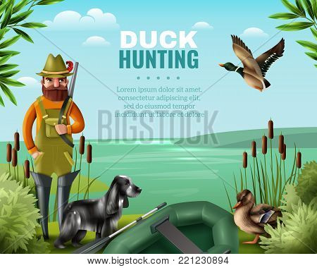 Man in boots with gun for duck hunting, hound and oar boat on river coast vector illustration