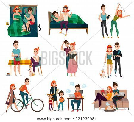 Couple in daily life set with man and woman during sleep, breakfast, work, rest isolated vector illustration