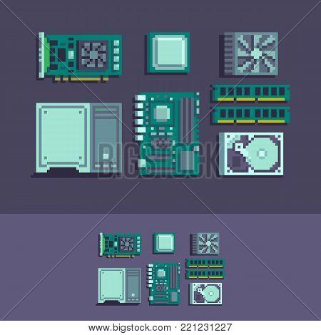 PC components pixel art vector set illustration.