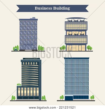 Set of vector modern business center with diverse architecture facades. Modern business center. Vector office buildings in cartoon style