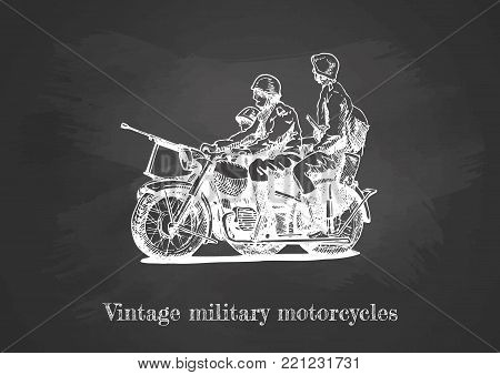 Vector hand drawing of Military motorcycles on chalkboard.