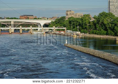 View on Mississippi river Minneapolis, USA, Summer, May 2017, Bridge, horizontal