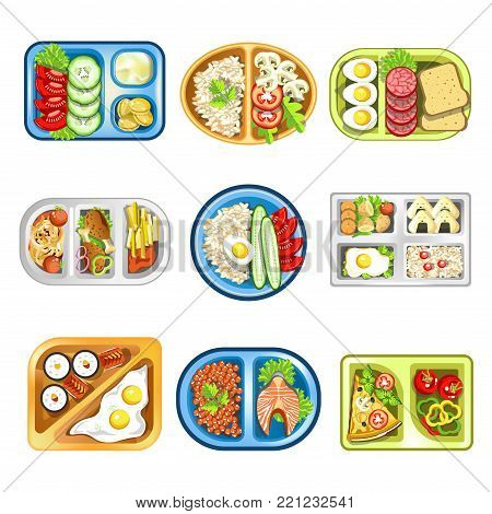 Nutritious healthy complex lunches composed of fried eggs, fresh vegetables, meat or fish, exotic sushi and pizza with mushrooms in convenient plastic trays isolated cartoon vector illustrations set.