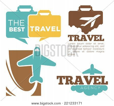 Best travel agency promotional poster with plane and suitcase silhouettes with sample text cartoon flat vector illustrations on white background. Journeys arrangements company advertisement banner.