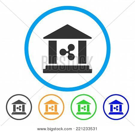 Ripple Bank Building rounded icon. Style is a flat grey symbol inside light blue circle with bonus colored variants. Ripple Bank Building vector designed for web and software interfaces.