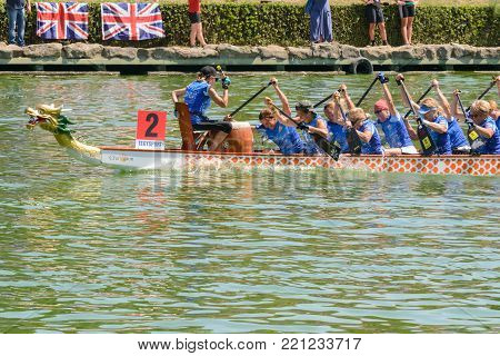 Rome, Italy - July 30, 2016: Dragon boat crews  compete at the european championships held in Italy in 2016 summer, in the photo the Italian crew