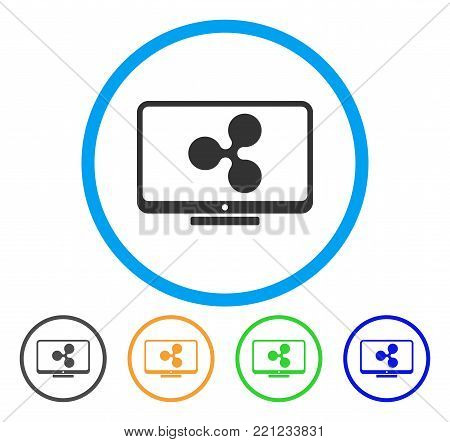 Ripple Display rounded icon. Style is a flat gray symbol inside light blue circle with additional color versions. Ripple Display vector designed for web and software interfaces.