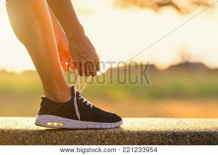 Young Asian Women Trying Running Shoes Getting Ready For Run. Healthy,lifestyle,relaxation,exercise.