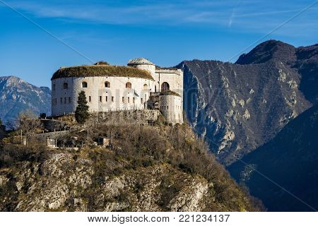 View of the World War I Rivoli or Wohlgemuth fortress near Garda lake in Italy