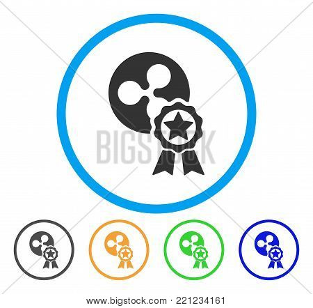 Ripple Reward rounded icon. Style is a flat grey symbol inside light blue circle with additional colored variants. Ripple Reward vector designed for web and software interfaces.