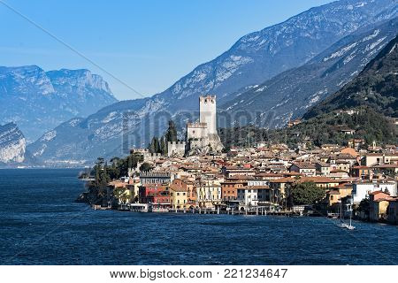 Part of the town of Malcesine on the eastern shore of Lake Garda in northern Italy