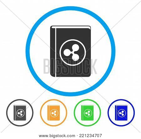 Ripple Book rounded icon. Style is a flat gray symbol inside light blue circle with bonus colored versions. Ripple Book vector designed for web and software interfaces.