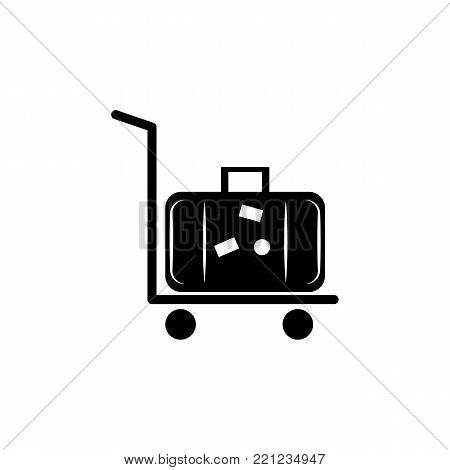 silhouette of rolling luggage trolly or cart with luggage on it icon on white background