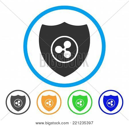 Ripple Shield rounded icon. Style is a flat grey symbol inside light blue circle with additional colored versions. Ripple Shield vector designed for web and software interfaces.