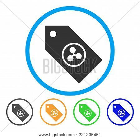 Ripple Token rounded icon. Style is a flat gray symbol inside light blue circle with bonus color versions. Ripple Token vector designed for web and software interfaces.