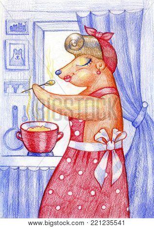 Cute teddy bear with a saucepan. Bear prepares dinner. Cook. Pencil illustration.