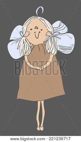 Vector Christmas Angel. Hanging Toy Angel. Hanging Christmas Angel
