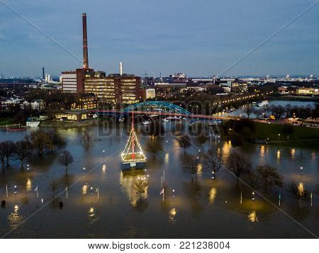 Aerial view of the skyline of the city of Duisburg in Germany during the Flooding of January 2018