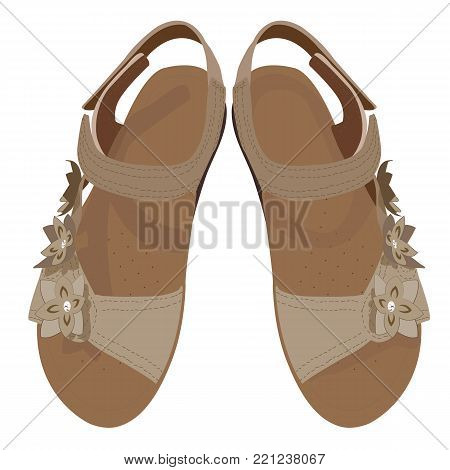 Vector Light Brown Sandals, View from Above. Summer Woman's Shoes in Beige Colours. Woman's Sandals in Beige Colours