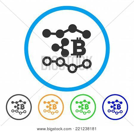 Ripple Bitcoin Trends rounded icon. Style is a flat grey symbol inside light blue circle with bonus color versions. Ripple Bitcoin Trends vector designed for web and software interfaces.