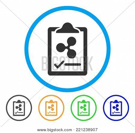 Ripple Contract Pad rounded icon. Style is a flat grey symbol inside light blue circle with additional colored versions. Ripple Contract Pad vector designed for web and software interfaces.