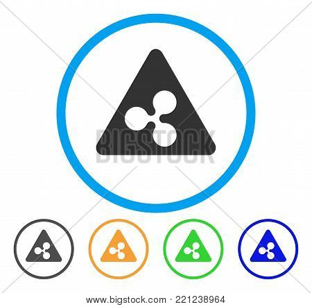 Ripple Danger rounded icon. Style is a flat gray symbol inside light blue circle with bonus color versions. Ripple Danger vector designed for web and software interfaces.
