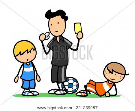 Cartoon referee showing yellow card during children soccer match foul