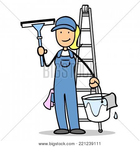 Cartoon woman was window cleaner with tools and ladder