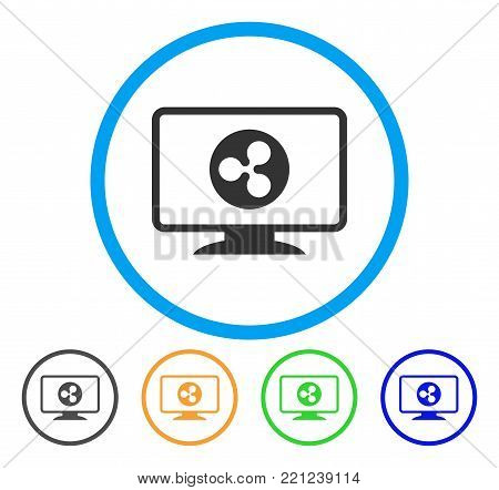 Ripple Display rounded icon. Style is a flat gray symbol inside light blue circle with bonus color variants. Ripple Display vector designed for web and software interfaces.