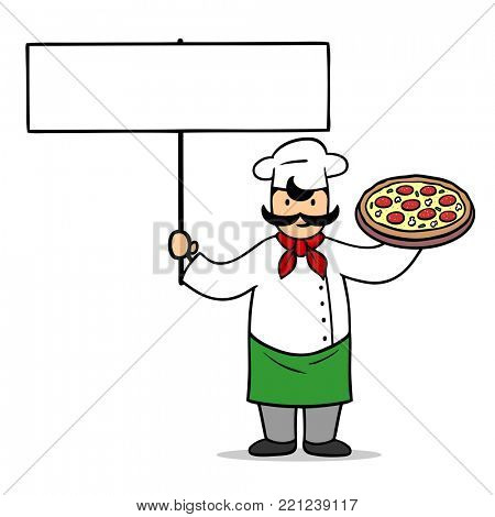 Cartoon pizza baker with blank sign for pizza delivery slogan