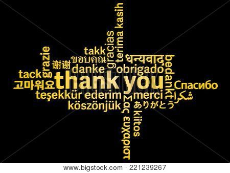 thank you word cloud in different languages on black background