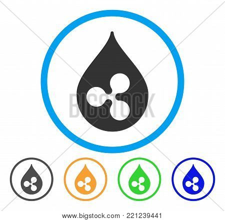 Ripple Drop rounded icon. Style is a flat gray symbol inside light blue circle with bonus color versions. Ripple Drop vector designed for web and software interfaces.