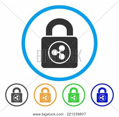 Ripple Lock rounded icon. Style is a flat grey symbol inside light blue circle with additional color versions. Ripple Lock vector designed for web and software interfaces.