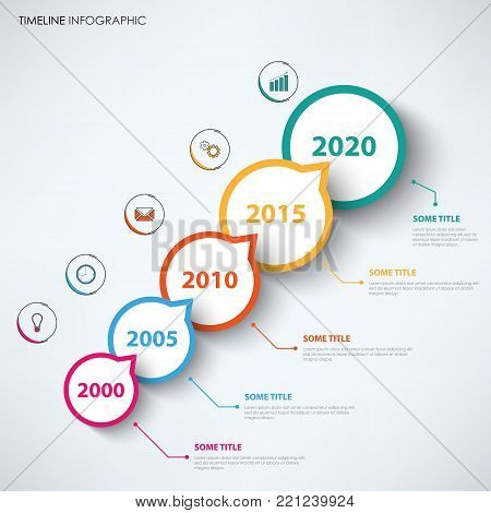 Time line info graphic with circular abstract design pointers vector eps 10