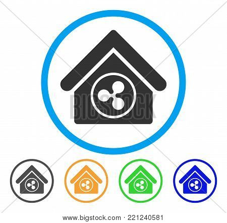 Ripple Realty rounded icon. Style is a flat grey symbol inside light blue circle with additional color versions. Ripple Realty vector designed for web and software interfaces.