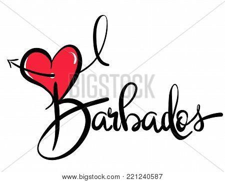 I Love Barbados - Vector Graphic Illustration