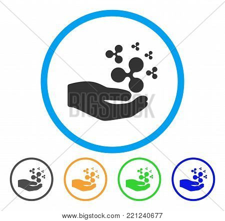 Ripple Salary Hand rounded icon. Style is a flat grey symbol inside light blue circle with bonus colored variants. Ripple Salary Hand vector designed for web and software interfaces.