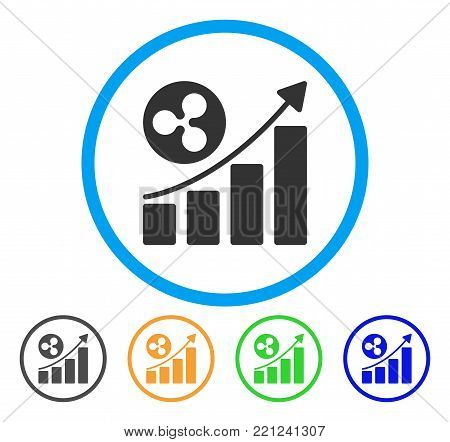 Ripple Up Trend rounded icon. Style is a flat grey symbol inside light blue circle with bonus colored versions. Ripple Up Trend vector designed for web and software interfaces.