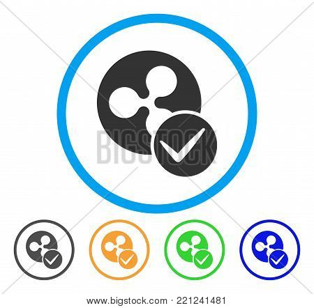 Valid Ripple Coin rounded icon. Style is a flat grey symbol inside light blue circle with bonus color versions. Valid Ripple Coin vector designed for web and software interfaces. poster