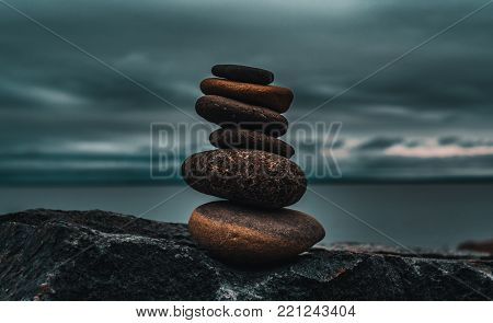 Photo taken of a rock stack at Canal Park in Duluth, MN.