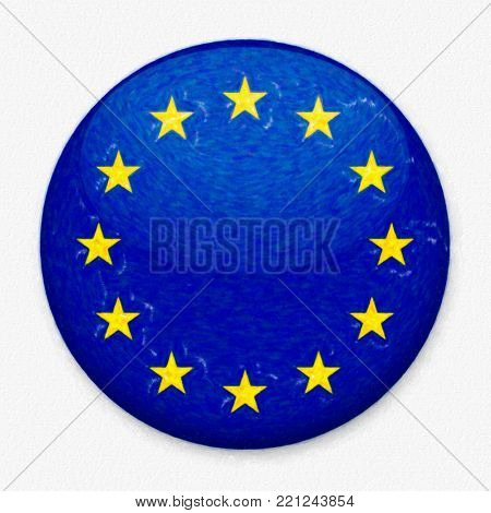 Watercolor flag of European Union in the form of a round button with a light glare and a shadow. The symbol of Independence Day, a souvenir, a button for switching the language on the site, an icon.