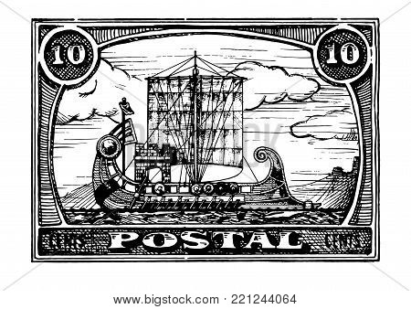 Grunge postage stamp with antique ship. Bireme. Vector hand drawn illustration.