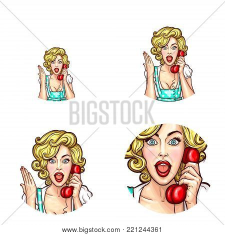 Vector pop art round icons set for user profile social net avatar, woman speaking on phone holding receiver in hand. Blonde girl with surprised or hand up expression chatting by phone, isolated sketch