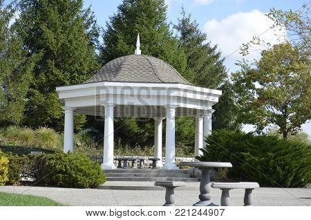 Outdoor Wedding Gazebo in the park on a sunny summer day