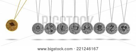 Newton cradle made of gold stratis and silver crypto currencies isolated on white background. Bitcoin acceleration of other crypto currencies. Vector illustration. Use for logos, print products