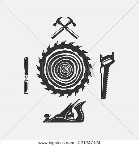 Set of woodwork logo with hammer and nail isolated on background for carpentry service, wood master and sawmill service. Stamp, banner. Wood work and manufacture template. Vector illustration,EPS 8,EPS 10