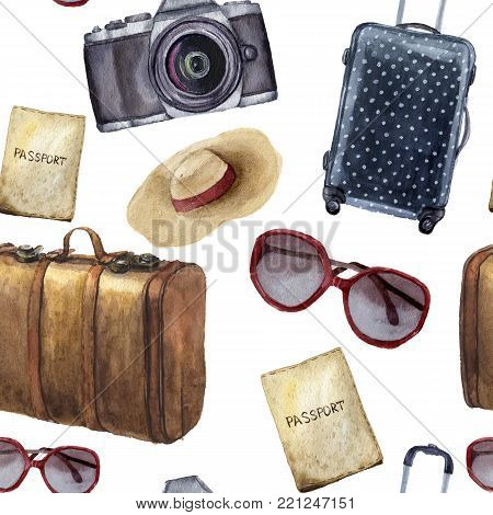 Watercolor travel pattern. Hand painted tourist objects set including passport, leather vintage suitcase, polka dot baggage, camera, hat and sunglasses isolated on white background. For design